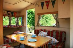 Blue Vintage Caravan interior by snailtrail.co.uk vw camper hire, via Flickr