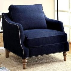 Shop for Deep Ink Blue Chenille Fabric Upholstered Living Room Accent Chair with Nailhead Trim. Get free shipping at Overstock.com - Your Online Furniture Outlet Store! Get 5% in rewards with Club O! - 19134407