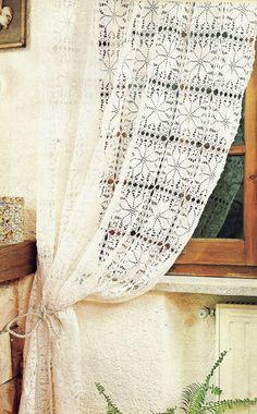 tejidos artesanales en crochet: cortina blanca con estrellas Crochet Curtains, Diy Curtains, Crochet Motif, Crochet Yarn, Crotchet Braids, Crochet Home Decor, Hanging Chair, Projects To Try, Clip Art