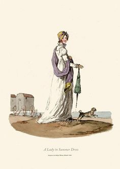 Regency Dress Print - English seaside - Beach - Bathing huts - Pug do…