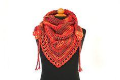 Crochet Triangle Scarf with Braided Flowers by aureliaslittleroom