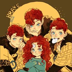 "Pixar Drawing Oh mah goodness. Age swap between Merida and her brothers is adorable - ""메리다와 세 쌍둥이"" Disney Pixar, Disney Animation, Film Disney, Disney Memes, Disney Fan Art, Disney And Dreamworks, Disney Cartoons, Disney Magic, Disney Characters"