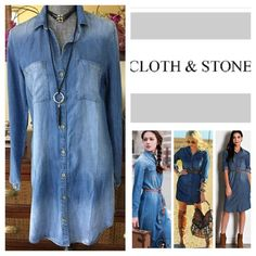 "Anthropologie Cloth & Stone Denim Dress.  NWT. Anthropologie Cloth & Stone Buttondown Denim Dress, 100% tencel, machine washable, 19.5"" armpit to armpit (39"" all around), 19"" arm inseam, 35"" front length, 40"" back length, long sleeves, fading, two chest pockets, high low curved hem, fading, collared, measurements are approx.  New without tag, never worn.  No Trades... Anthropologie Dresses"