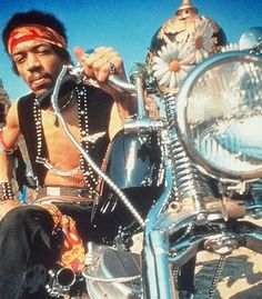 Jimi Hendrix on his motorcycle