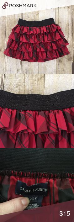 Ralph Lauren Plaid Skirt Red and black Ralph Lauren plaid ruffle skirt. Elastic waist.  🔸Size: 2/2T 🔸No rips or stains 🔸Smoke Free Home Ralph Lauren Bottoms Skirts