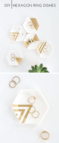 DIY hexagon catchall dish