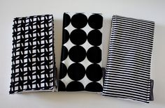 Burp Cloths - Set of 3 in Black and White