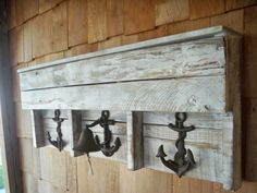 Nautical Boat Anchor and Bell pallet coat rack and shelf by mycave