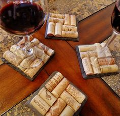 4 Slate Wine Cork Coasters Perfect for by ScatteredTreasures