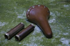 Leather bicycle saddle with grips by tiraleather on Etsy