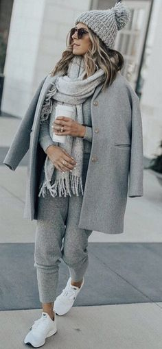 All-grey winter outfit idea.