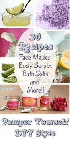 20 Recipes for Face Masks Body Scrubs Bath Salts and More   #skincare #skincarerecipes http://ncnskincare.com/