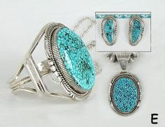 Authentic Native American Navajo Kingman Birdseye Turquoise bracelet, pendant and earrings sets by Navajo Bennie Ration