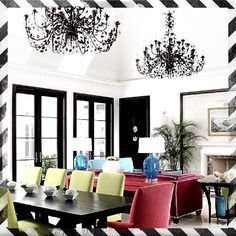 Colors block living/dining. #vintage#chic#b