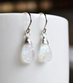 White Moonstone Earrings, Argentium Sterling Silver Hoops, June Birthstone, Gift Under 25, $22.50
