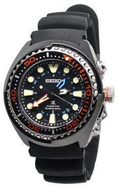 678da68f193f55 Seiko SUN023 Kinetic Prospex GMT Black Dial Black Rubber Mens Diver Watch  Seiko Diver