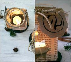 Adventskranz: Teelicht-Glas / DIY Advent Wreath: Tea Light Candle
