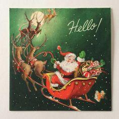 Vintage Santa Claus in Sleigh with Reindeer Christmas Greeting Card