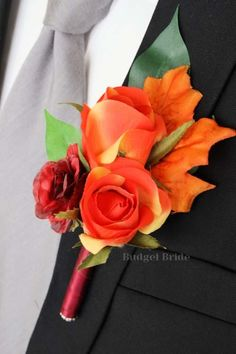 Fall button hole or boutonniere made with orange rose buds, wine mini rose and fall leaves Bridal Bouquet Fall, Fall Wedding Bouquets, Fall Wedding Flowers, Flower Bouquet Wedding, Red Wedding, Autumn Wedding Cakes, Bride Bouquets, Wedding Stuff, Prom Corsage And Boutonniere