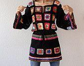 Crochet freeform patchwork hippie vest jacket hippie by GlamCro