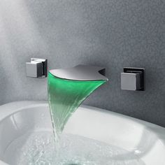 Wall Mounted LED Waterfall 3pcs Bathroom Basin Faucet Mixer Tap http://www.justleds.co.za