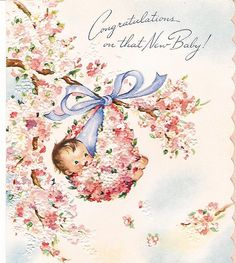 Congratulations on that New Baby! ~ Vintage baby card