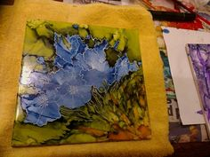 blue-delight - Alcohol Ink on tile with white gel pen outline