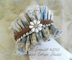 Fabric Cuff Bracelet  Romance and Bling by shabbycottagestudio, $20.00