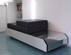 Bed-bench-drawers in wood, steel and glass di Capriblueisland su Etsy