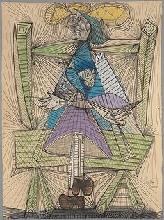 Dora Maar in a Wicker Chair. Pablo Picasso, 1938.                                             Pablo Picasso