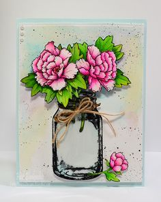 JustRite Papercraft October New Release - Peonies Clear Stamps and Coordinating Dies - Peonies and Mason Jar Card