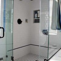 Bathroom. custom shower room design ideaswith white ceramic glass mosaic wall panel built in shelf combined with black polished iron ntowel hanging. Likeable Shower Designs With Glass Tile For Bathroom Renovation Ideas