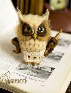 Animal toys, handmade. Economic Owl .. Natalya Kuznetsova (art-wool). Fair Masters. Owl wool, family, housewife