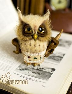 Animal toys, handmade. Economic Owl .. Natalya Kuznetsova (art-wool). Fair Masters. Owl wool, family, housewife