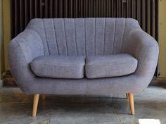 Retro Sofa Azure 2-Sitzer Stoff Graublau: Amazon.de: Küche & Haushalt