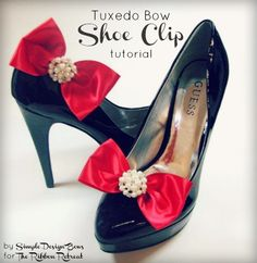 Tuxedo Bow Shoe Clip Tutorial - Learn how to attach shoe clips to bows. Attach them to flowers and so much more! {The Ribbon Retreat Blog}
