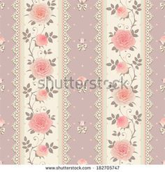 Similar Images, Stock Photos & Vectors of Seamless floral background. Vector polka dot striped pattern with lace, bows and roses. Paper Scrapbook, Floral Rosa, Floral Stripe, Vintage Labels, Diy Arts And Crafts, Shabby Chic Style, Rose Design, Paper Background, Vintage Paper