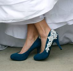 Lace on a blue shoe. Could be a great DIY project too. #blue #wedding #idea #shoes