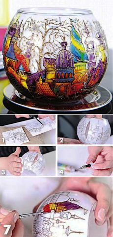 Japanese candle decoration workshop: painting on glass Glass Painting Designs, Stained Glass Designs, Stained Glass Patterns, Paint Designs, Stained Glass Paint, Glass Bottle Crafts, Wine Bottle Art, Mirror Painting, Ceramic Painting