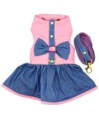 Vestido com Guia em Courino e Tecido Rosa Claro e Azul - Coleção Princesas
