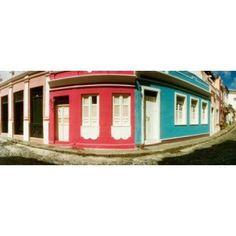 Houses along a street in a city Pelourinho Salvador Bahia Brazil Canvas Art - Panoramic Images (15 x 6)