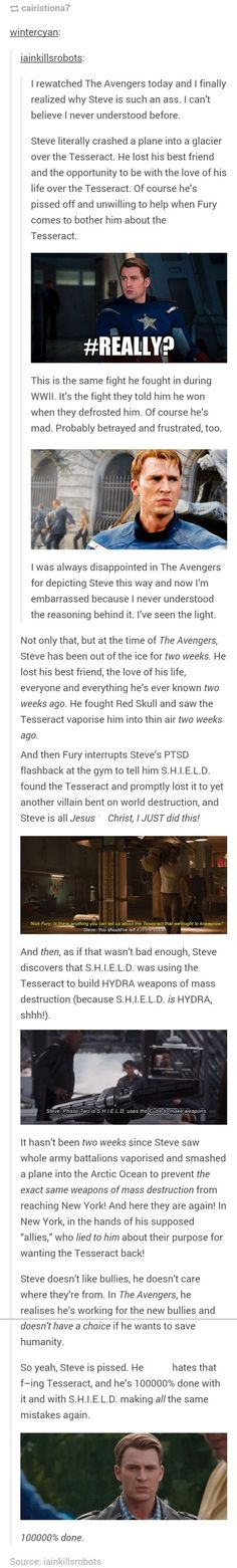 Excuse the language, but This forever changed my view on Captain America/Steve Rogers in The Avengers. It's scary to think that when Avengers occurs, Steve's only been out of the ice for TWO WEEKS. His attitude is completely justified. Marvel Avengers, Marvel Dc Comics, Dc Memes, Marvel Memes, Avengers Memes, Hulk, Die Rächer, Fandoms, Bucky Barnes