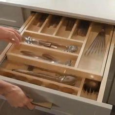 Inside Kitchen Cabinets, Kitchen Cabinet Drawers, Kitchen Pantry Design, Kitchen Drawer Organization, Custom Kitchen Cabinets, Diy Kitchen Storage, Modern Kitchen Design, Home Decor Kitchen, Kitchen Pull Out Drawers