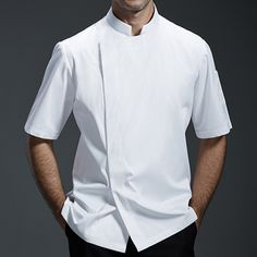 Male/Female White/Gray/Black Poly Cotton Short Sleeve Catering Summer Shirt. Suitable for Uniforms of Barista,Bartender,Baker,Chef,Waiter/Waitress,or Work ware of Bakery,Cafe,Restaurant,Hotel,Bistro,etc.