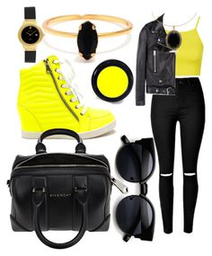 """""""Cool Neon Yellow"""" by egordon2 ❤ liked on Polyvore featuring Topshop, Acne Studios, Givenchy, Bing Bang, HUBLOT, women's clothing, women, female, woman and misses"""