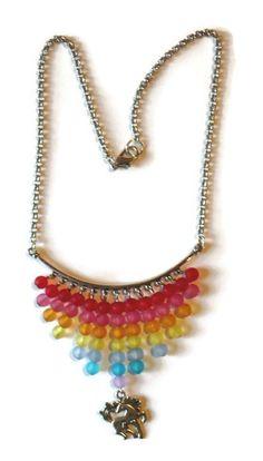 collier multicolore licorne