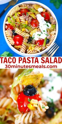 Taco Pasta Salad is a delicious and hearty dish that can be served as an entrée or side dish. #pastasalad #salad #pasta #sidedish #30minutesmeals Vegetarian Pasta Recipes, Chicken Pasta Recipes, Healthy Pasta Recipes, Easy Appetizer Recipes, Easy Delicious Recipes, Spaghetti Recipes, Mexican Food Recipes, Vegetarian Mexican, Noodle Recipes