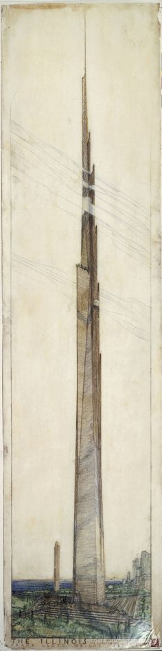 """Frank Lloyd Wright (American, 1867-1959) The Mile High Illinois, Chicago Project 1956 Perspective with Wright's Golden Beacon Apartment Building project (1956-57) Pencil, colored pencil, ink, and gold ink on tracing paper 105 x 30"""" (266.7 x 76.2 cm) The Frank Lloyd Wright Foundation Archives (The Museum of Modern Art 