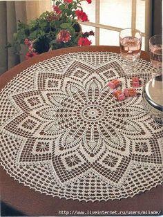 Crochet Art: Crochet Tablecloth Pattern - Elegant Decorative C. Crochet Tablecloth Pattern, Free Crochet Doily Patterns, Crochet Symbols, Crochet Mandala, Crochet Art, Crochet Round, Crochet Home, Thread Crochet, Filet Crochet