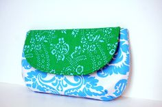 clutch in sassy colors aqua damask and by SassyStitchesbyLori, $32.00